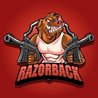 Logo mascotte razorback con doppia pistola
