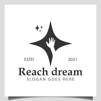 Raggiungi il logo del sogno con il design dell'icona delle stelle della mano per raggiungere le stelle, i bambini, il simbolo del successo, il logo del sognatore
