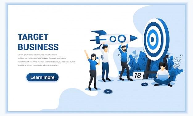 Raggiungi l'obiettivo con le persone in possesso di un razzo puntato sul bersaglio. raggiungi l'obiettivo, raggiungimento obiettivo aziendale. illustrazione piatta