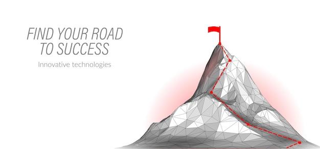 Raggiungi il massimo successo aziendale concetto sfida lavoro di squadra trionfo leader lavoro montagna punto alto goa ...