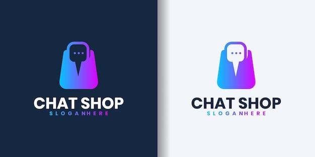 Logo del negozio rapido reattivo, logo del negozio di chat