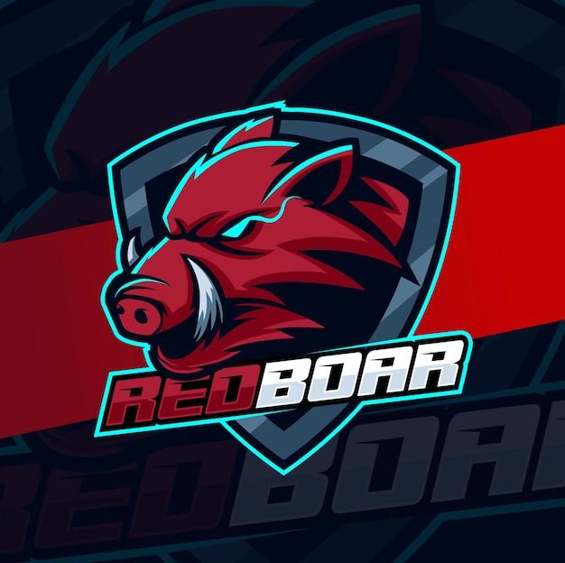 Leggi il personaggio di design del logo di cinghiale esport per mascotte di gioco e sport