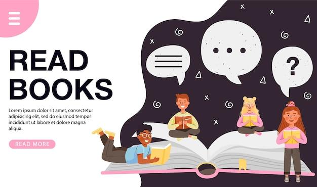 Leggere il concetto di design di libri.