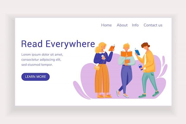 Leggi ovunque il modello di pagina di destinazione. sito web della libreria con illustrazioni piatte. layout della homepage della biblioteca.