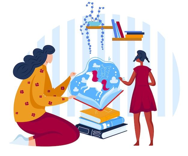 Leggere l'illustrazione piana di vettore dei libri delle favole. cartoon madre storytelling, lettura di fiabe alla figlia bambina in un libro aperto con unicorno magico, i bambini sognano
