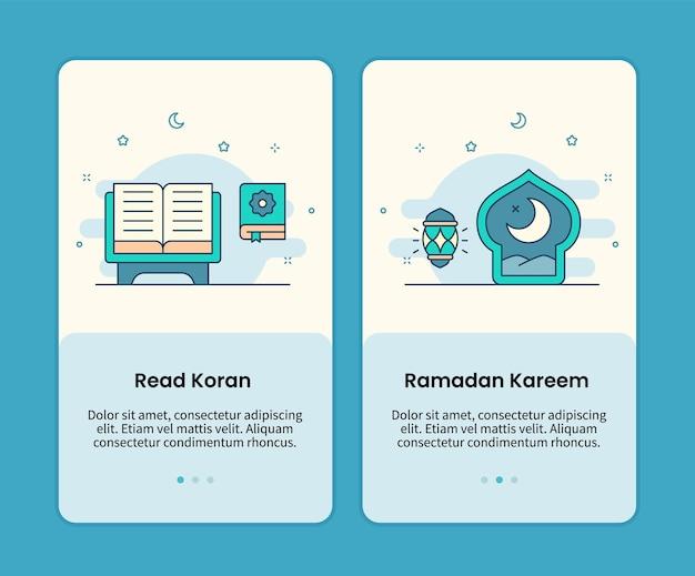 Leggi il set di pagine mobili di corano e ramadan kareem