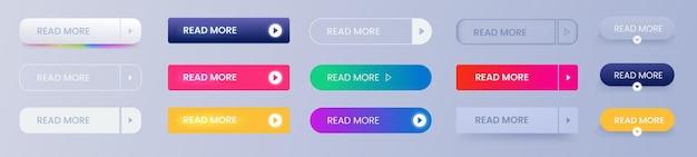 Per saperne di più insieme di vettore di pulsanti. modelli rettangolari per i disegni. icone linea e gradiente e piatte. firma per fare clic.