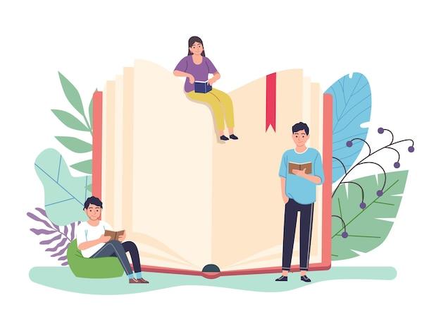 Concetto di libro di lettura. enorme libro di testo aperto e persone minuscole che leggono libri, e-learning e biblioteca, studio a distanza e autoeducazione, donne intelligenti e uomini che imparano l'illustrazione piatta del fumetto vettoriale