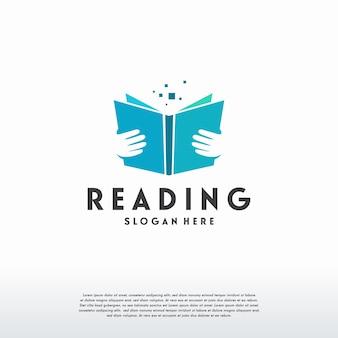 Il logo del libro di lettura progetta il vettore del concetto, il modello del logo dell'istruzione