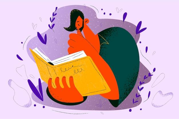 Lettura di libri, educazione, concetto di hobby.