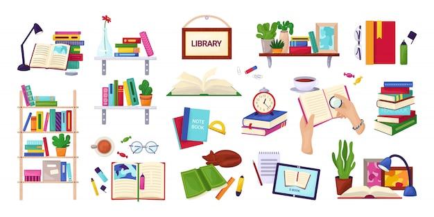 Lettura di libri, istruzione e concetto di biblioteca, insieme di illustrazioni su bianco. enciclopedia, icone del libro di testo, pila di libri, mani con il taccuino. studio e conoscenza.