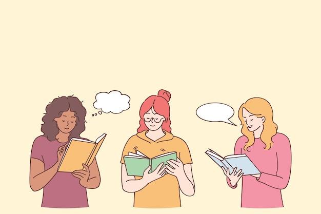 Lettura di libri e interessante concetto di ricreazione per il tempo libero. tre giovani donne in personaggi dei cartoni animati di abbigliamento casual in piedi leggendo libri e sorridendo