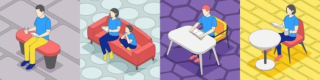 Lettura di persone isometrica 4x1 illustrazione