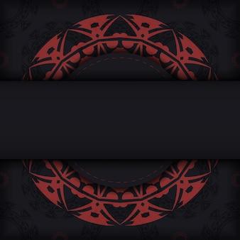 Biglietto da visita pronto per la stampa con spazio per il testo e motivi astratti. un set di biglietti da visita in nero con ornamenti greci rossi.