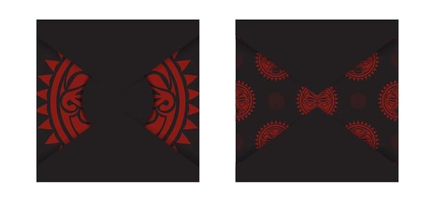 Design da cartolina pronto per la stampa in nero con la maschera degli dei. modello di invito con un posto per il tuo testo e una faccia in un ornamento in stile polizeniano.