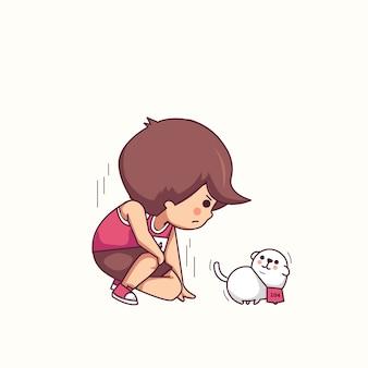 Pronto per iniziare l'illustrazione di vettore del carattere del cane e del ragazzo