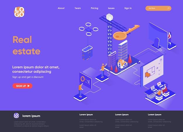 Illustrazione isometrica del sito web della pagina di destinazione del bene immobile 3d con i caratteri della gente