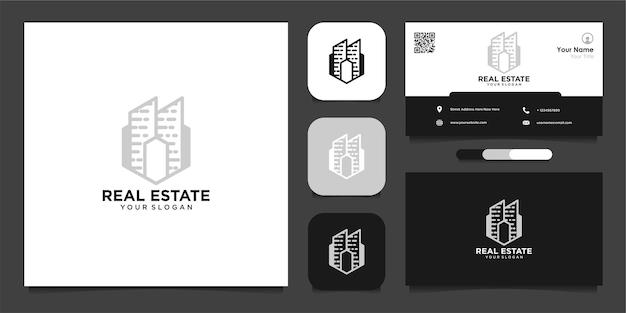 Modello di progettazione del logo abstrack immobiliare e biglietto da visita vettore premium