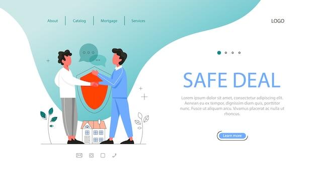 Banner web vantaggio immobiliare. idea di contratto di lavoro sicuro, mutuo e affitto. agente immobiliare qualificato o concetto di mediatore.