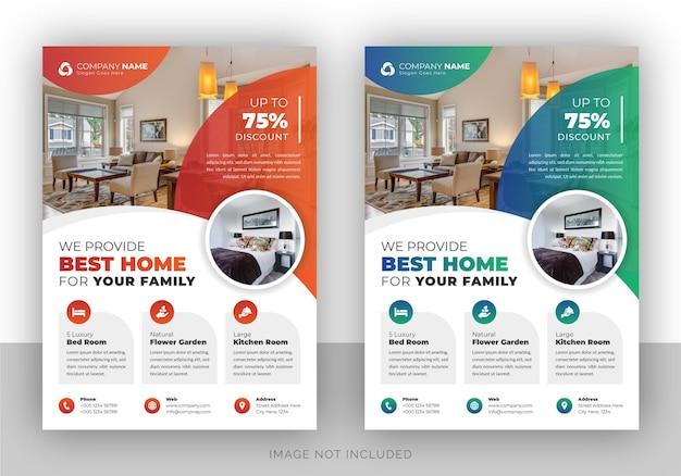 Modello di progettazione volantino agenzia immobiliare Vettore Premium