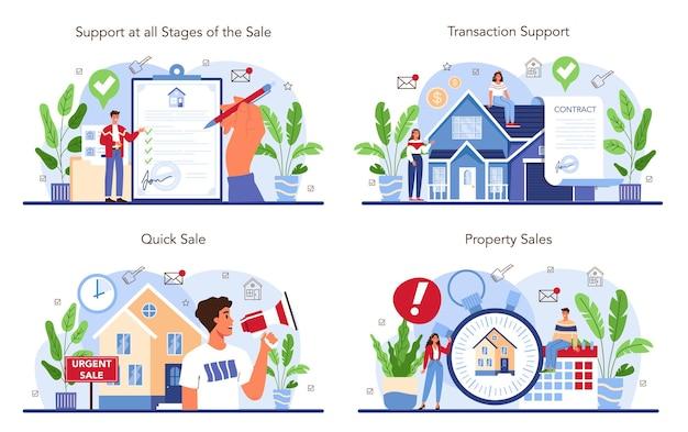 Set di servizi di agenzia immobiliare assistenza nell'acquirente di vendita di proprietà