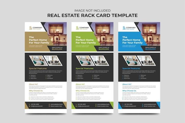 Modello di carta di agente immobiliare e costruzione business rack