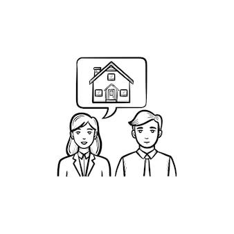 Icona di doodle di contorno disegnato a mano di comunicazione di persone agente immobiliare. il manager parla con il cliente come concetto di consulenza immobiliare. illustrazione di schizzo di vettore su priorità bassa bianca.