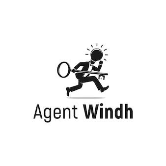 Finanziamento delle chiavi di ispirazione del logo della lampadina intelligente dell'agente immobiliare