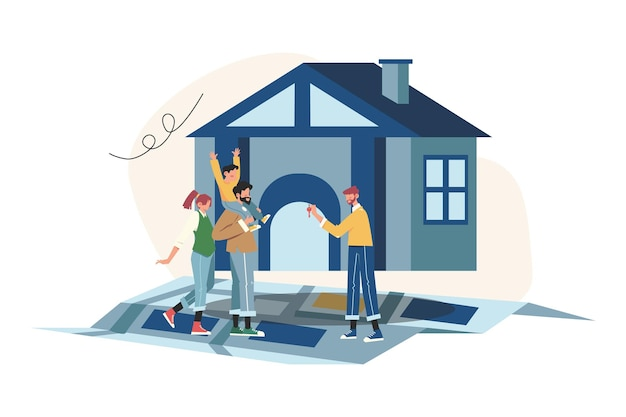 Concetto di affari immobiliari con la crescita del mercato delle case