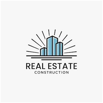 Logo aziendale immobiliare linea geometrica logo logo modello ispirazione vettore premium 2