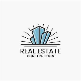 Logo aziendale immobiliare linea geometrica logo logo modello ispirazione vettore premium