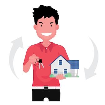 L'attività immobiliare che mostra un agente immobiliare che vende la casa presenta un uomo in piedi che tiene una casa con la chiave