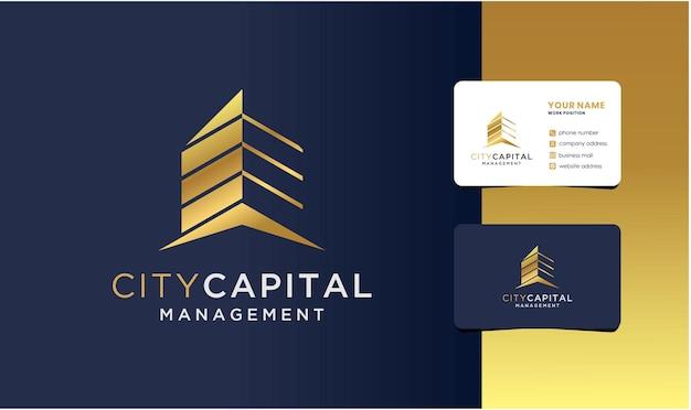 Logo di gestione degli investimenti di capitale immobiliare con design di biglietti da visita.
