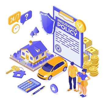 Immobiliare, auto, concetto isometrico di servizio di assicurazione familiare