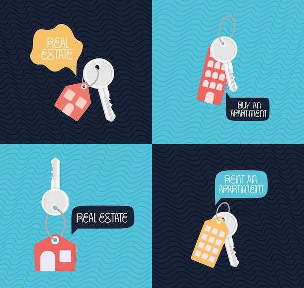Carte immobiliari con portachiavi