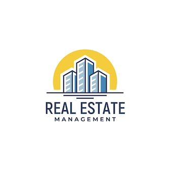 Real estate city building clip art logo design