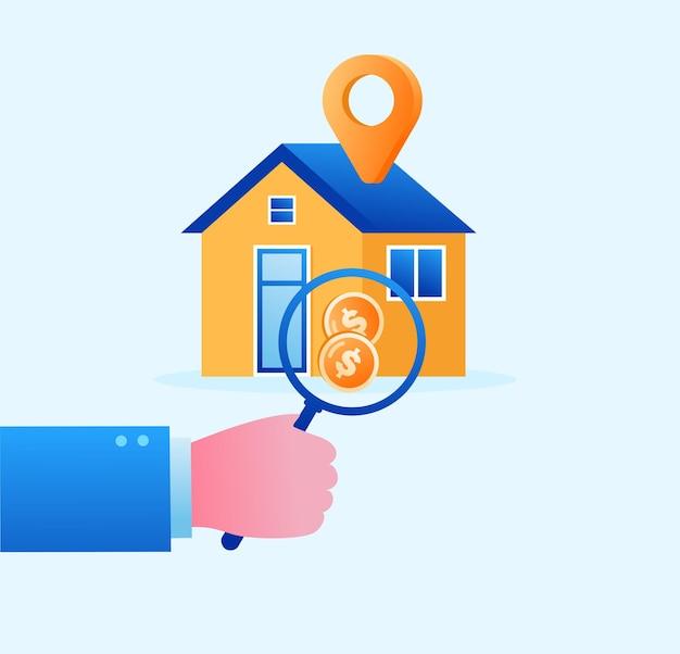 Banner piatto e pagina di destinazione dell'illustrazione di vettore del concetto di proprietà immobiliare e sviluppatore