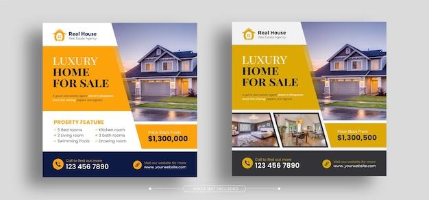 Modello di banner post sui social media per la promozione del marketing digitale immobiliare