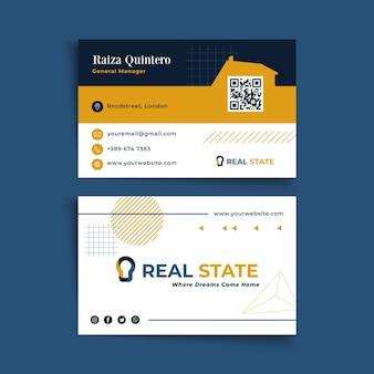 Biglietto da visita bifacciale immobiliare Vettore Premium