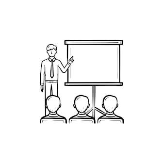 Icona di doodle di contorni disegnati a mano di istruzione immobiliare. l'allenatore immobiliare mostra sullo schermo di proiezione come concetto di conferenza immobiliare