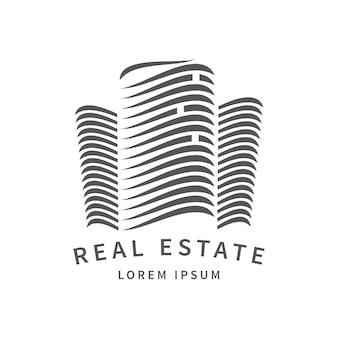 Emblema immobiliare modello aumento segno edificio rise