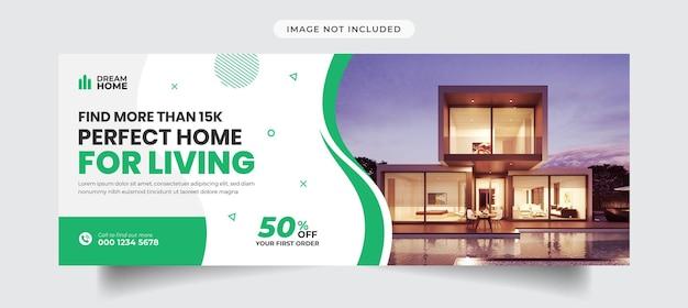Modello di copertina e banner della timeline di facebook immobiliare