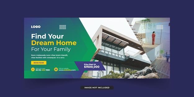 Modello di copertina della timeline di facebook immobiliare