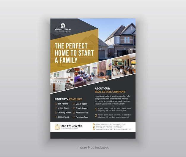 Modello di brochure per volantino immobiliare