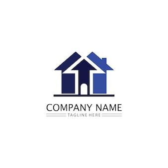 Modello di icone di logo di vettore di edifici immobiliari e domestici