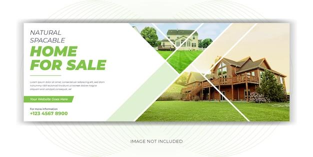 Banner di copertina di facebook sui social media per la vendita di immobili in affitto