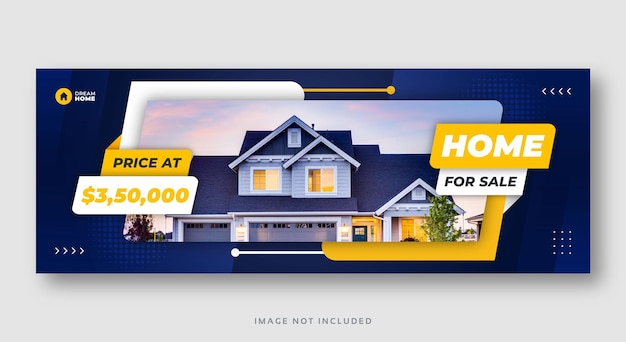 Modello di copertina di facebook banner vendita casa immobiliare