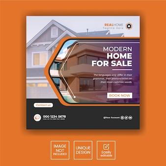 Banner di vendita di case immobiliari o post sui social media