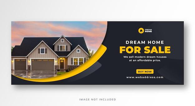 Banner web copertina facebook di vendita immobiliare casa