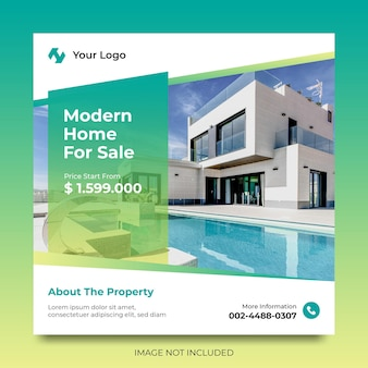 Real estate home for sale modello di promozione di annunci sui social media